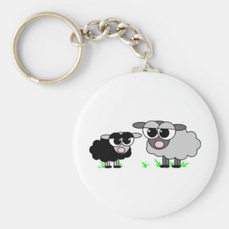 Cute Little Black Sheep and BigGray Sheep Key Ring