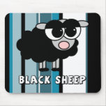 Cute Little Black Sheep Blue Stripes Mouse Pad
