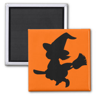 Cute Little Black Witch Square Magnet