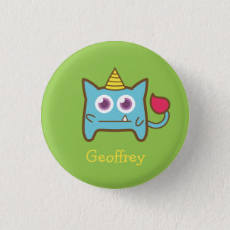 Cute Little Blue Monster with Horn for kids 3 Cm Round Badge