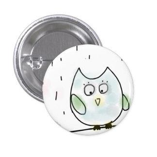 Cute Little Blue Owl 3 Cm Round Badge
