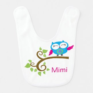 Cute Little Blue Owl Baby Bibs