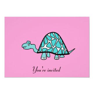 """Cute little blue turtle invitation on pink 5"""" x 7"""" invitation card"""