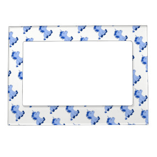 Cute Little Blue Unicorns Magnetic Picture Frame