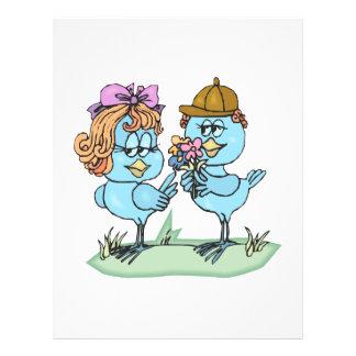 cute little bluebirds in love cartoon graphic flyer design