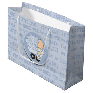 Cute Little Boy Baby In Buggy New Baby Large Gift Bag