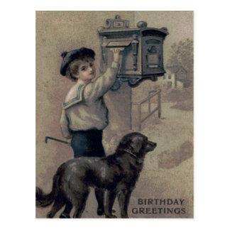 Cute Little Boy Dog Mailbox Letter Postcard