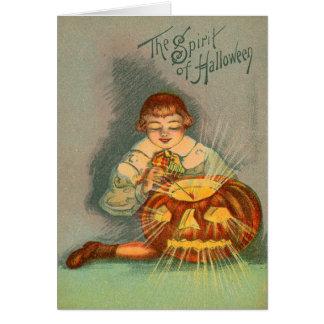 Cute Little Boy Lighting Jack O Lantern Greeting Card