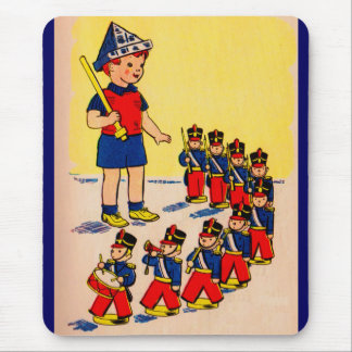 cute little boy with toy soldiers mouse pad