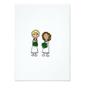 """Cute Little Bride Lesbians 5"""" X 7"""" Invitation Card"""