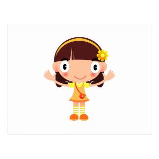 Cute Little Brow Haired Girl with a Purse Cartoon Postcard