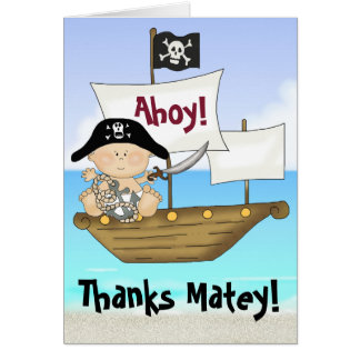 Cute Little Buccaneer Baby Boy Pirate Thank You Note Card