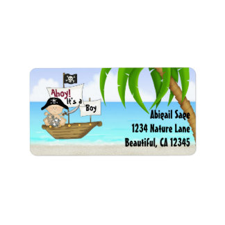 Cute Little Buccaneer Pirate Baby Shower Address Address Label