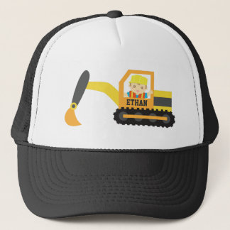 Cute Little Builder Excavator Construction Vehicle Trucker Hat