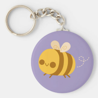 Cute Little Bumble Bee on Purple Keychains