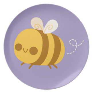 Cute Little Bumble Bee on Purple Plates