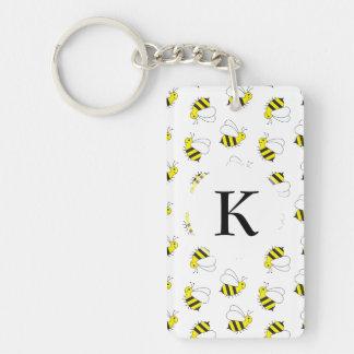 Cute Little Bumble Bee Pattern Key Ring