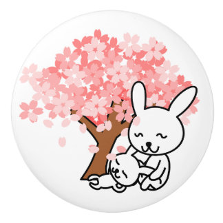 Cute Little Bunny Pink and White Bunnies Knob