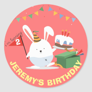 Cute Little Bunny with cake birthday party Round Sticker