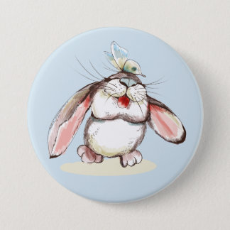 Cute little bunny with pretty butterfly 7.5 cm round badge