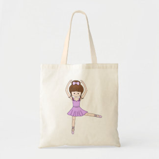 Cute Little Cartoon Ballerina Girl in Purple Tote Bag