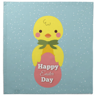 Cute little cartoon chick easter greetings napkin