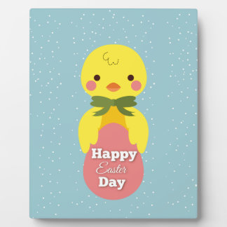 Cute little cartoon chick easter greetings plaque