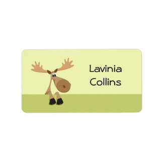 Cute little cartoon moose green name label/tag address label