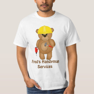 Cute Little Cartoon Teddy Bear Handyman with Tools Shirts