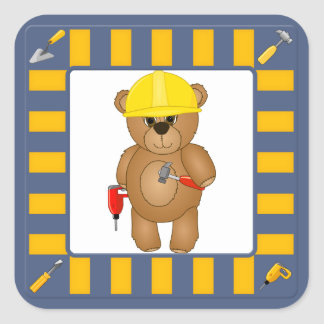 Cute Little Cartoon Teddy Bear Handyman with Tools Square Sticker