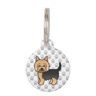 Cute Little Cartoon Yorkie Dog And Pet's Info Pet Tag