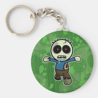 Cute Little Cartoon Zombie Basic Round Button Key Ring