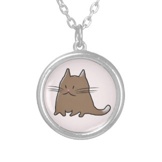Cute Little Cat Round Pendant Necklace