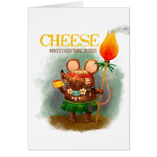 Cute Little Cave Mouse and its Cheese Card