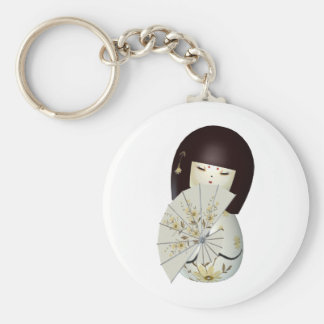 CUTE LITTLE CHINA DOLL BASIC ROUND BUTTON KEY RING