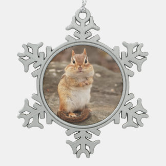 Cute Little Chipmunk Snowflake Pewter Christmas Ornament