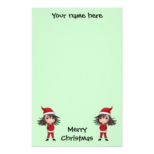Cute little Christmas elf chibi Customized Stationery