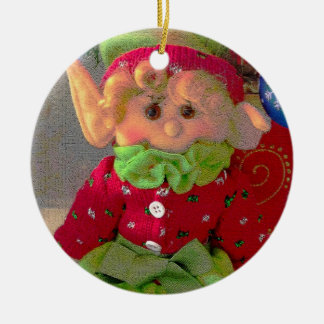 Cute little Christmas girl elf Round Ceramic Decoration