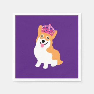 Cute Little Corgi Princess Wearing a Pink Crown Disposable Serviette