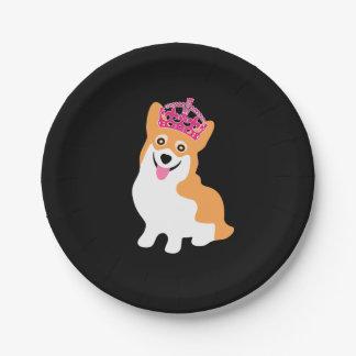 Cute Little Corgi Princess Wearing a Pink Crown Paper Plate