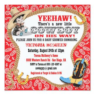 "Cute Little Cowboy Baby Shower Invitation 5.25"" Square Invitation Card"