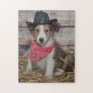 Cute Little Cowboy Puppy Jigsaw Puzzle
