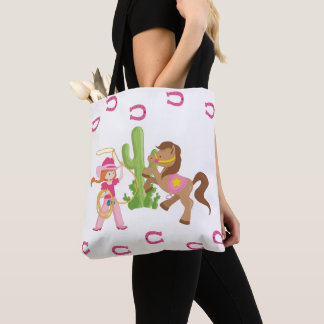 Cute Little Cowgirl and Pony Tote Bag
