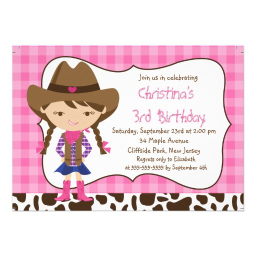Cute Little Cowgirl Birthday Party Invitations