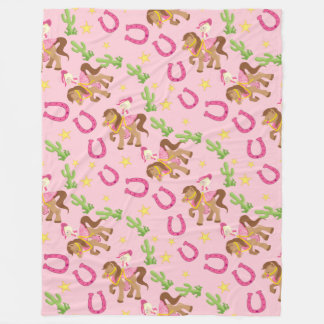 Cute Little Cowgirl Pattern Fleece Blanket
