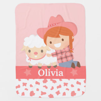 Cute Little Cowgirl with Lamb For Baby Girls Baby Blanket