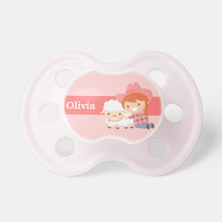 Cute Little Cowgirl with Lamb For Baby Girls Dummy