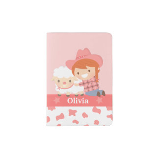 Cute Little Cowgirl with Lamb For Girls Passport Holder