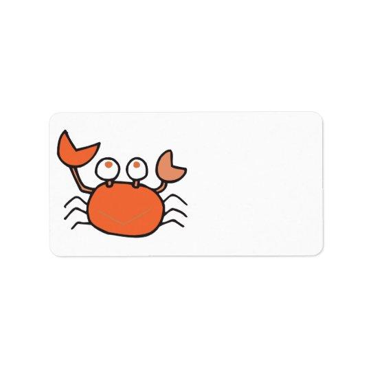 cute little crab cartoon graphic address label