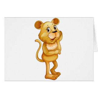 Cute little cub standing alone card